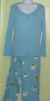 NEW Charter Club Intimates 2 Piece Pajama Set Eye Candy Blue Hot Cocoa 41062G716
