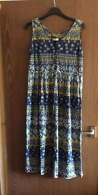 Vintage St Michael M&S Blue Green Indian Print Cotton Gauze Summer Dress 12 14