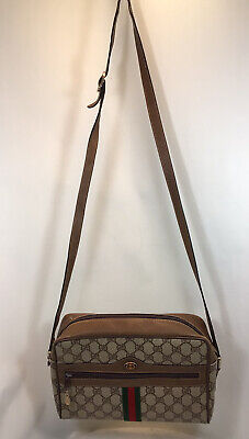 Vintage Genuine GUCCI Brown Monogram Striped Crossbody Bag