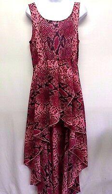 ALI & KRIS Women's Dress Multi Color Anime Print Sleeveless Sheer Hi Lo Maxi M - Ali Clubwear