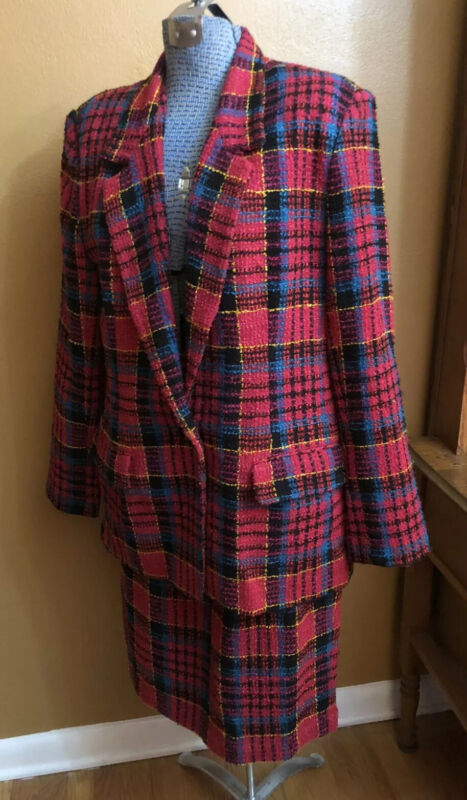 Vintage Women's Chaus Size 16 Skirt Suit Set  Red Plaid Wool Blend Lined