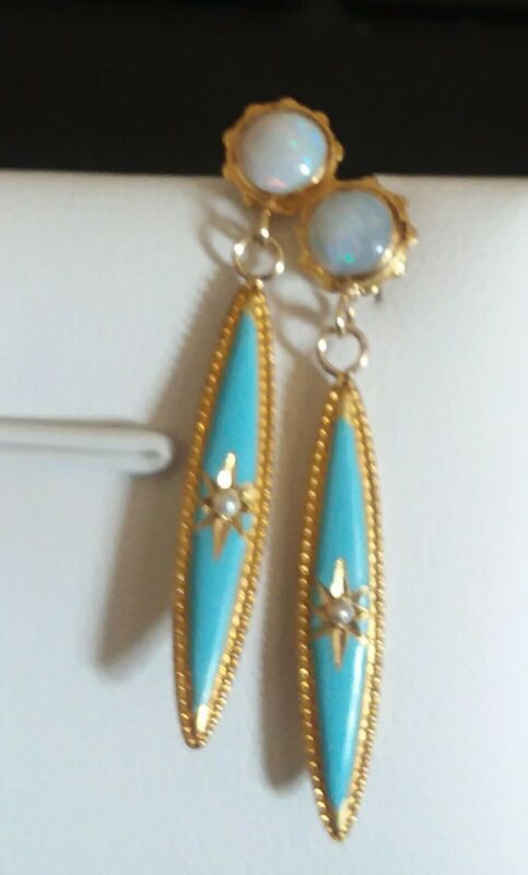 Adorable  Victorian 14 k conversion earrings, enamel, seed pearls and fire opal