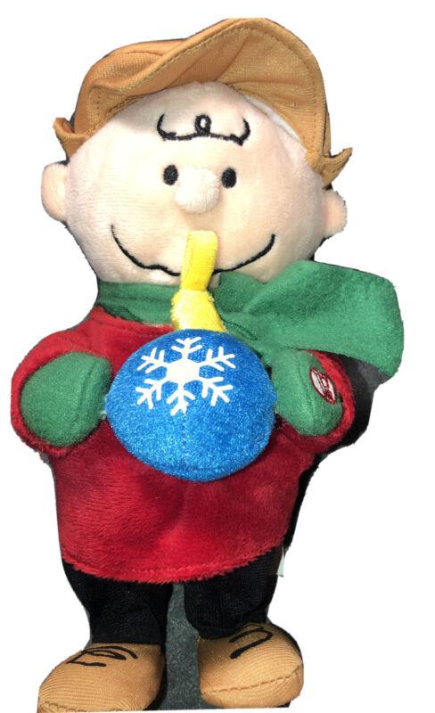"Animated Dancing Musical Charlie Brown Christmas Plush Doll Holding Snowball 10"""
