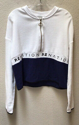 P.E Nation Womens 1/2 Zip Shirt Pullover White Blue Size Small
