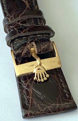 Vintage Rolex 16mm ROSE 18k Gold Buckle 20mm CROCODILE Tobacco color