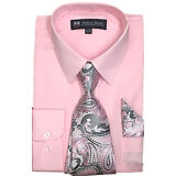 New Men/'s Dress Shirt w// Matching Tie and Handkerchief Set  SG-21B