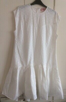 Huishan Zhang Dress White Cotton  Size 14 Broderie Anglaise Style New