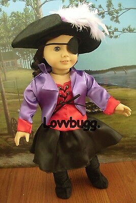 "Lovvbugg COMPLETE SET Satin Pirate Costume with BOOTS Clothes for 18"" American Girl Doll Clothes"