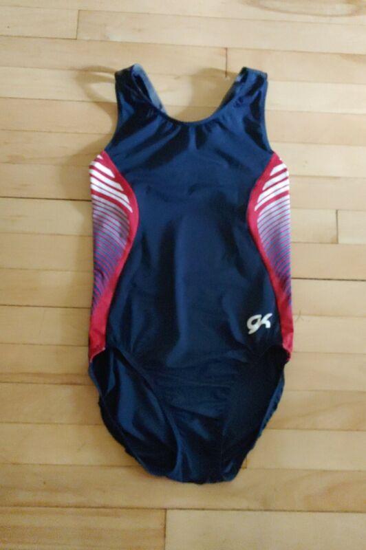 GK Gymnastics Leo Leotard Blue Red White Gray Stripes Size Adult XL Extra Large