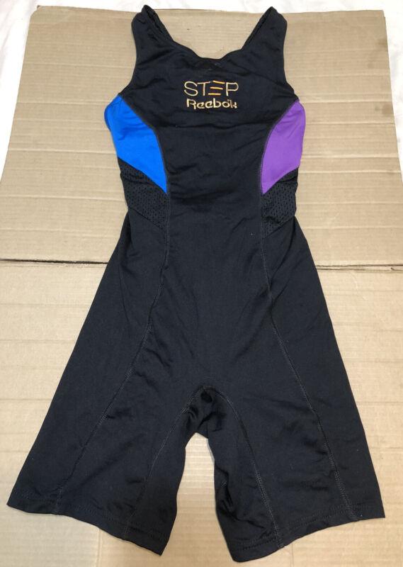 Vintage 1980s STEP REEBOK Workout Bodysuit Unitard - Made in USA - Size L