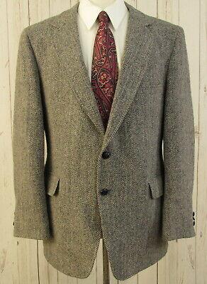 Harris Tweed Wool Blazer 44R Men Herringbone Two Button Sport Coat Jacket
