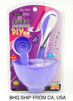 4 in 1 DIY Facial Face Mask Tool Set Mixing Bowl Brush Stick Spoon Make Up - 4 In 1 Tool