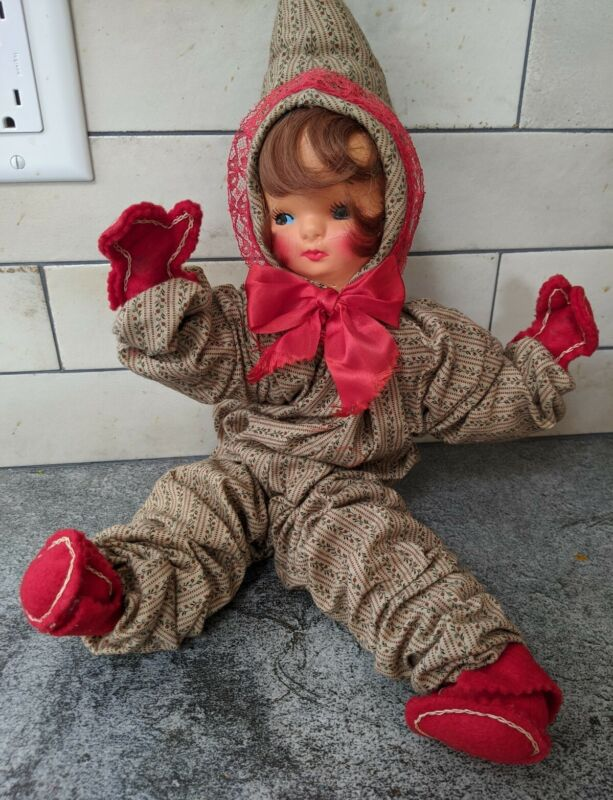 Vintage Antique Christmas Baby Doll Holiday Wire Inside Plush Handmade Sitter