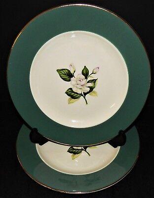 2 Homer Laughlin Rose Dinner Plates Emerald Empire Green International China USA