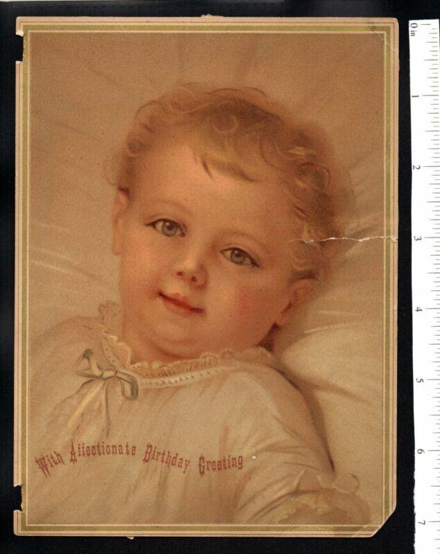 BABY GIRL AFFECTIONATE BIRTHDAY GREETING 1880
