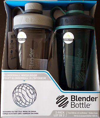 2 Pack Blender Bottle Radian Shaker Bottle Grey Sea Green 32 oz. 950ml Loop Top