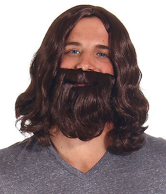Stylish Adult Men Boys Brown Biblical  Beard Jesus Wig/Short Men Party Full Wigs (Mens Brown Wig)