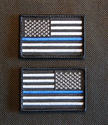 Thin Blue Line United States Flag Patch Set Police SWAT Hook Backing