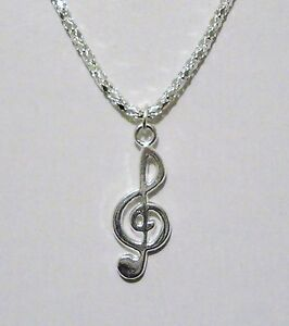 16.5in Silver Plated G Clef Music Note Necklace New N2