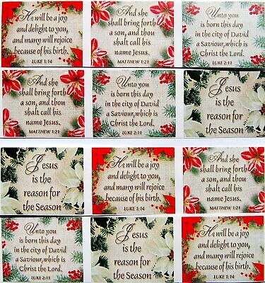 12 BEAUTIFUL CHRISTMAS CHRISTIAN SCRIPTURE STICKERS USA MADE #12C  FAST SHIP!