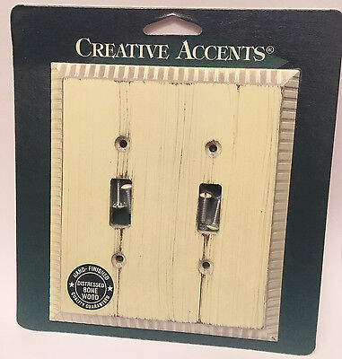 Creative Accents Wood Wall Plate - Distressed Bone Wood Antique White Wash Double Light Switch WallPlate Cover
