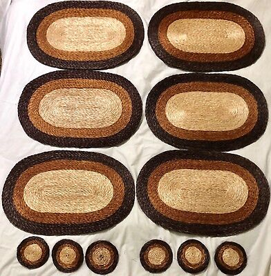 Rattan Placemats and Coasters 6 of Each Brown Rust Tan Textiles Kitchen Dining