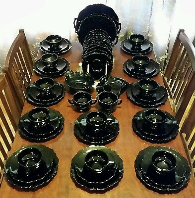 55p RARE FULL SET VINTAGE BLACK GLASS DARKLING DINNER PARTY GOTHIC TEA SET LOT