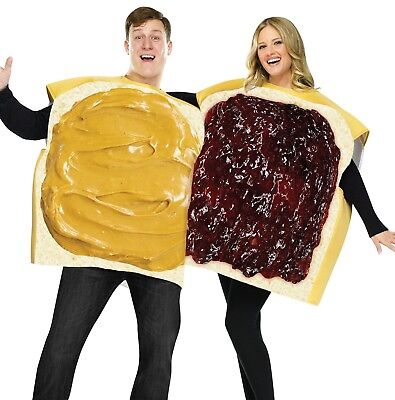 Adult Couples Funny Humorous Peanut Butter & Jelly Sandwich Costume - Fast Ship (Couples Costume)