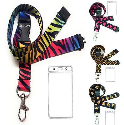 Lanyard Neck Strap Waterproof Vertical Plastic Id Card Badge Holder With Zipper