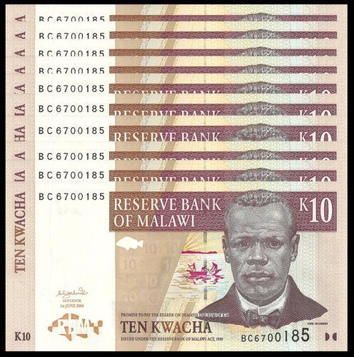 MALAWI 10 KWACHA 2004 P 43 UNC (10 PCS)
