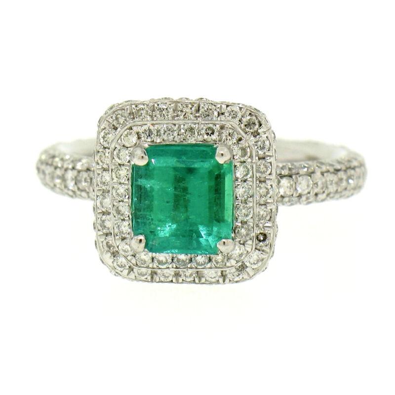 Solid Platinum 2.46ctw Emerald Solitaire & Dual Round Pave Diamond Halo Ring