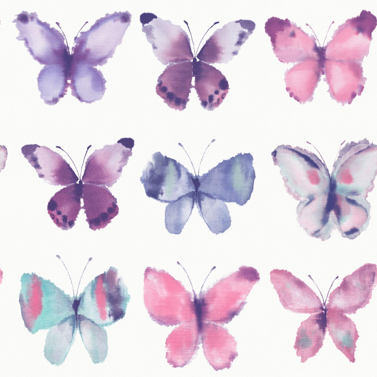 Pink Butterfly Wallpaper: BUTTERFLIE BUTTERFLY WHITE PINK PURPLE PASTEL WALLPAPER