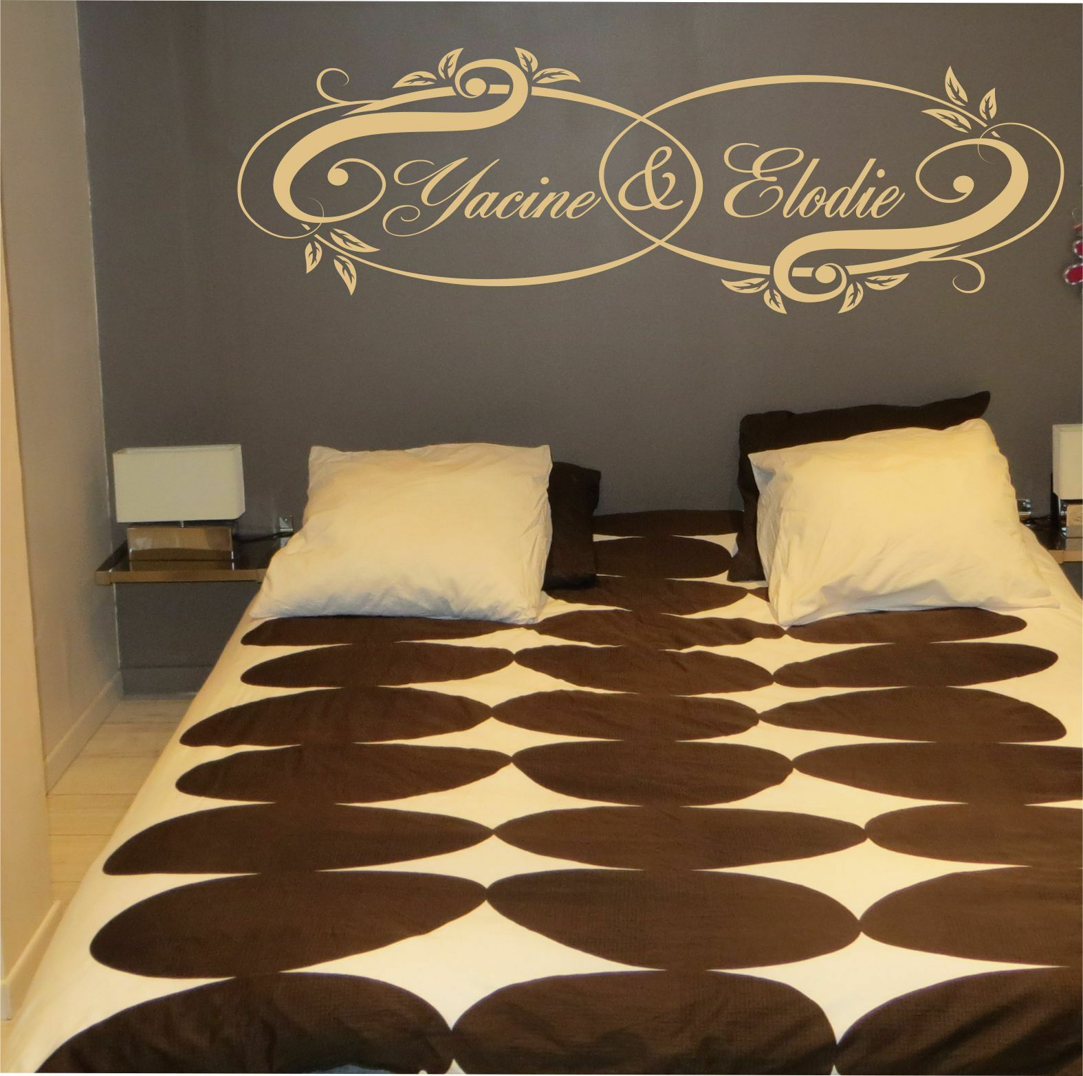 stickers personnalis pr noms couple amour t te de lit chambre double retro eur 2 00. Black Bedroom Furniture Sets. Home Design Ideas