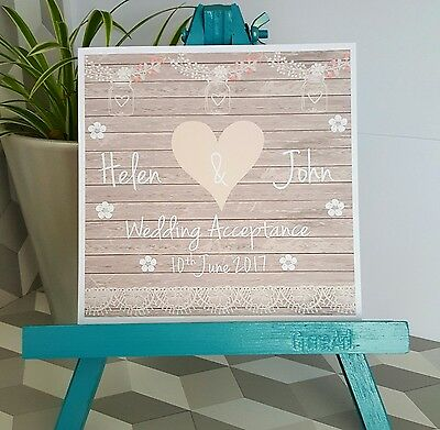 PERSONALISED Handmade Wedding Acceptance Card Vintage Shabby Chic Style