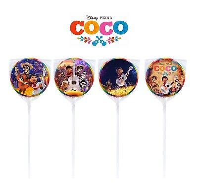 24 Disney Coco Miguel Movie Birthday Sticker Label for Bag Lollipop Party Favor - Bag Labels