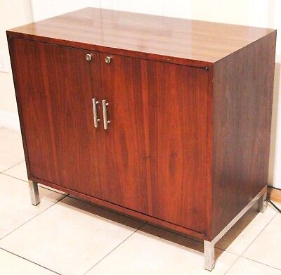 Mid-Century Modern Wood Liquor Cabinet with Built-In Mini-Fridge (Mid Appliances)