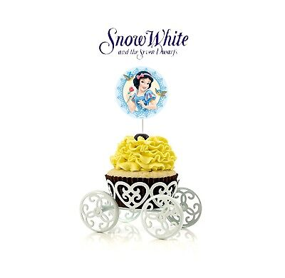 12 Disney Snow White Cupcake Cake Toppers Food Picks Favor Party for Kids (Snow White Party)