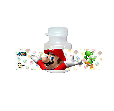20 Super Mario Bros Party Favors Bubbles Labels for Treat Goodie Loot Gift Bags (Mario Bros Party Favors)