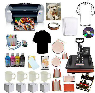 8 In 1 Combo Sublimation Heat Pressprintercissink Tshirts Mug Start-up Bundle