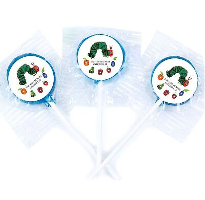 24 The Very Hungry Caterpillar Stickers Round Labels Bag Lollipop Party Favors