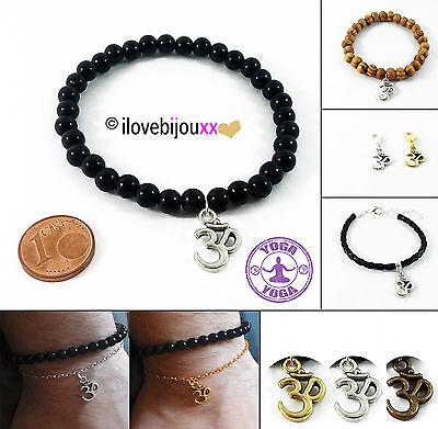 Bracciale OM Ohm Aum Yoga meditazione perle ciondolo braccialetto simbolo Buddha