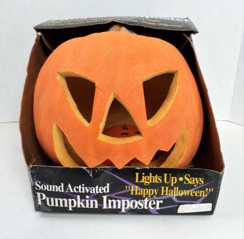 Vintage Gemmy Sound Activated Light Up Pumpkin Imposter Foam Mold Jack O
