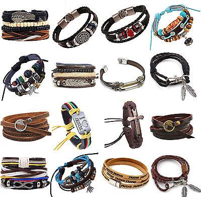 Fashion Handmade Genuine Leather Bracelets for Men Punk Surfer Braided Bracelets