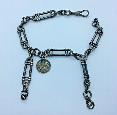 SOLID STERLING SILVER ALBERT POCKET WATCH CHAIN TROMBONE LINK CHESTER 1910