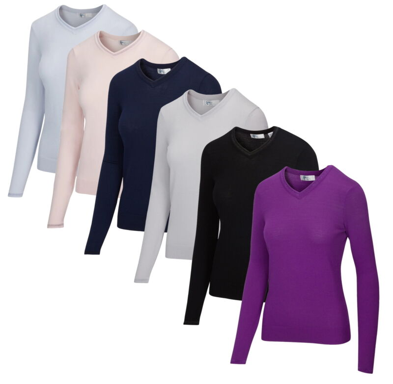 Greg Norman Womens Lurex Tipped V-Neck Sweater Golf Pullover - New 2020