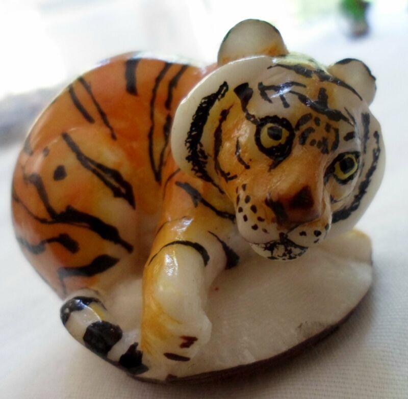 Wounaan Embera Bengal Tiger Tagua Nut Carving-Panama 21051320L