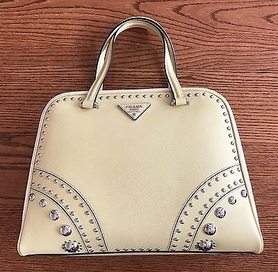 NEW! PRADA Yellow & White Saffiano Leather Tote with Metal Studs Tote Bag BL808M