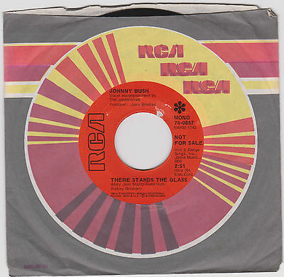 """JOHNNY BUSH~There stands the glass/ These lips  don't know how~PROMO US 7"""""""