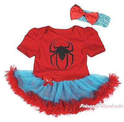 Halloween Spider Red Bodysuit Girl Blue Red Baby Dress Skirt Jumpsuit NB-18Month - Spider Girl Bodysuit