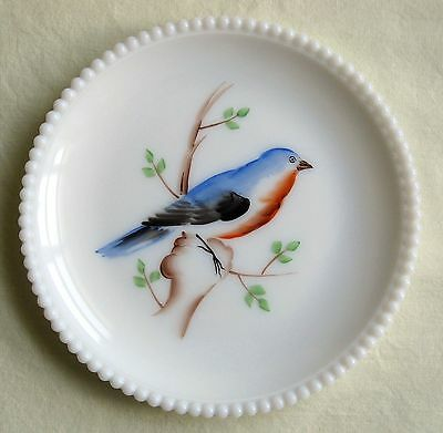 "Vintage Westmoreland Blue Bird Plate Milk Glass Beaded Edge Hand Painted 7 1/2"""